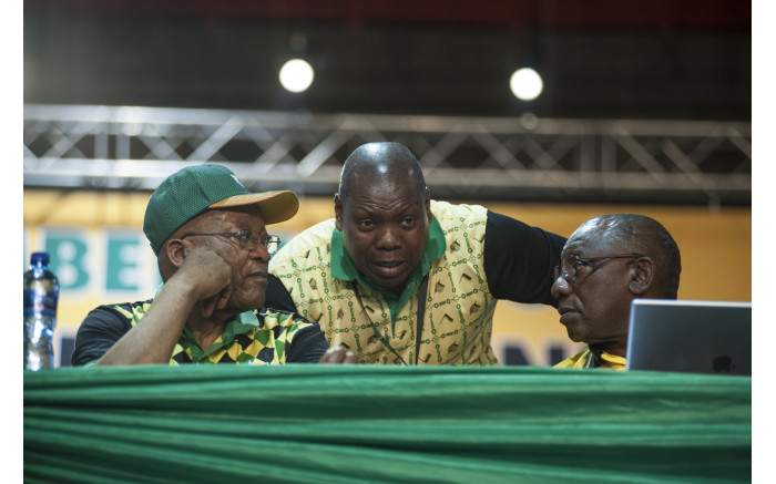 Zweli Mkhize, President Zuma and Cyril Ramaphosa  at the ANC's national conference on 17 December 2017. Picture: Ihsaan Haffejee/EWN.