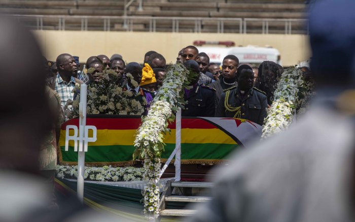 The coffin bearing the body of the late Robert Mugabe lies ready for viewing at the National Sports Stadium.