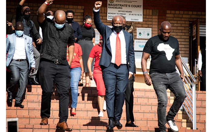 Julius Malema outside the Randburg Magistrates Court.