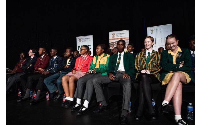 South Africa's top matric achievers on stage at the ministerial pass rate and prize giving announcement.