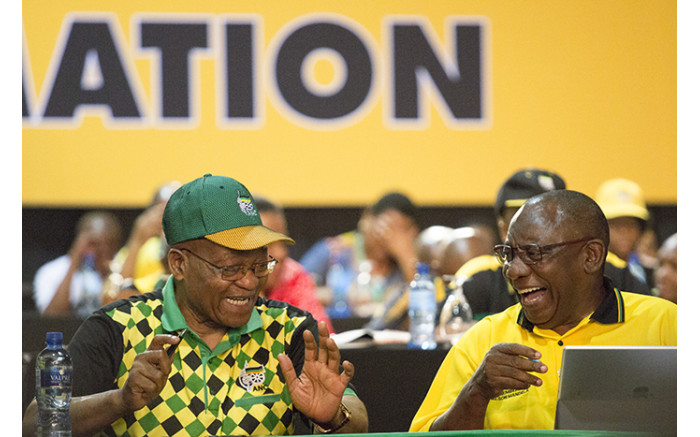 Jacob Zuma and Cyril Ramaphosa during the nominations process at the ANC's national conference on 17 December 2017. Picture: Sethembiso Zulu