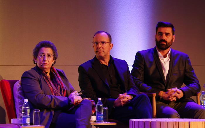 Businesswomen Wendy Appelbaum, M&C Saatchi Abel CE Mike Abel, and Daily Maverick publisher and CEO Styli Charalambous.