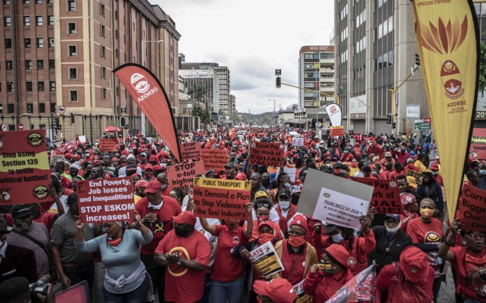 Workers affiliated to different trade unions marched in Pretoria from Burgerspark to the Treasury in Pretoria. Picture: Abigail Javier/EWN