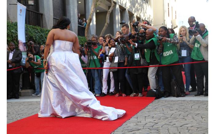 DA Parliamentary leader Lindiwe Mazibuko dazzled with a long silver gown.