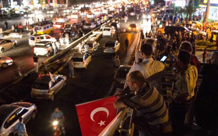 People take to the street in support of President Erdogan on 16 July 2016. Picture: AFP.