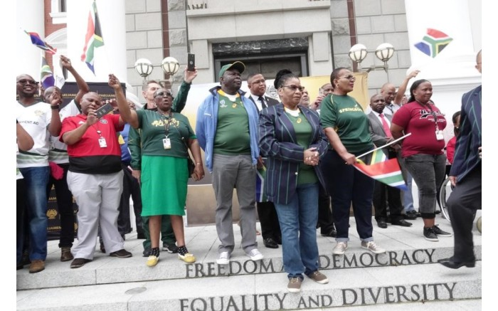 Members of Parliament await the arrival of the Springboks in the parliamentary precinct in Cape Town. Picture: GCIS