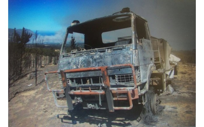 A truck seen after the fire in Somerset West. Picture: Supplied.
