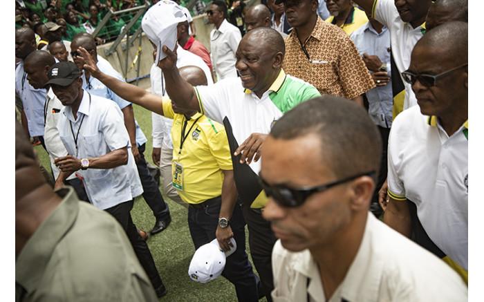 President Cyril Ramaphosa arriving at Moses Mabhida Stadium. Picture: Sethembiso Zulu/EWN