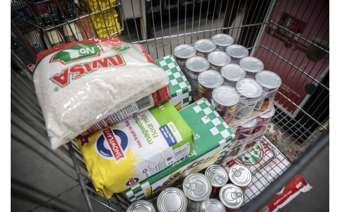 One of a shopper's trolley at Makro Woodmead that will last the shopper's family more than a month.