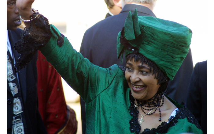 Winnie Madikizela-Mandela arrives at the Union Buildings in Pretoria 27 April 2004 for the inauguration of President Thabo Mbeki.