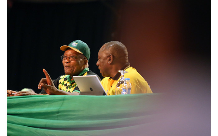 Jacob Zuma and Cyril Ramaphosa during the nominations process at the ANC's national conference. Picture: Sethembiso Zulu/EWN