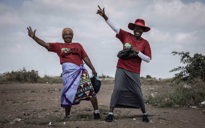 EFF supporters in the informal settlement Juju Valley in Limpopo pose for the camera. Picture: Abigail Javier/EWN