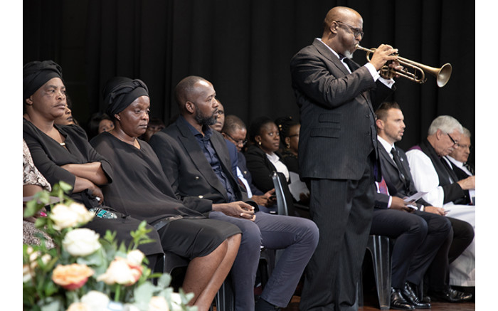 A musical tribute was played for Enock Mpianzi at the memorial service. Picture: Xanderleigh Dookey/EWN