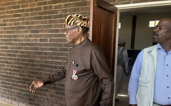 IFP leader Mangosuthu Buthelezi leaves the voting station in Ulundi in KwaZulu-Natal.