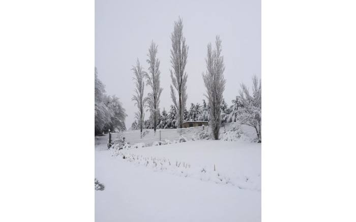 Snowfall in Hilltop Farm in Mount Currie, outside Kokstad. Credit: Andrew Perkin