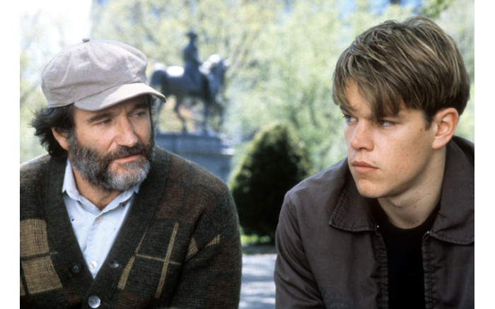 Robin Williams sitting with Matt Damon in a scene from the film 'Good Will Hunting', 1997. Picture: Getty Images.