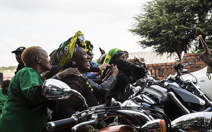 ANC female bikers outside Winnie Madikizela-Mandela's  home