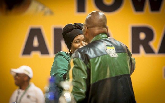 President Jacob Zuma greets Nkosazana Dlamini Zuma at the start of the ANC's 54th national conference. Picture: Thomas Holder/EWN.