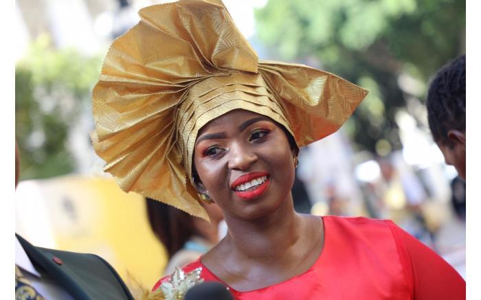 FASHION FISSION: Nuclear scientist Senamile Masango in a bold headdress. Kayleen Morgan/EWN