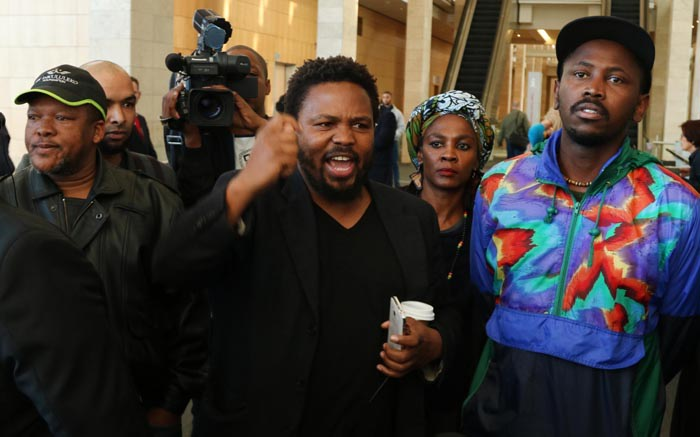 BLF members protest outside the Cape Town International Convention Centre.