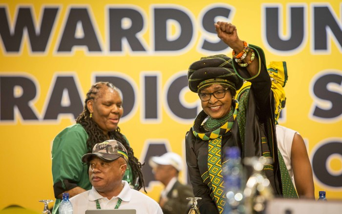 ANC stalwart Winnie Mandela (R) inside the plenary at the party's 54th national conference on 16 December 2017. Picture: Thomas Holder/EWN.