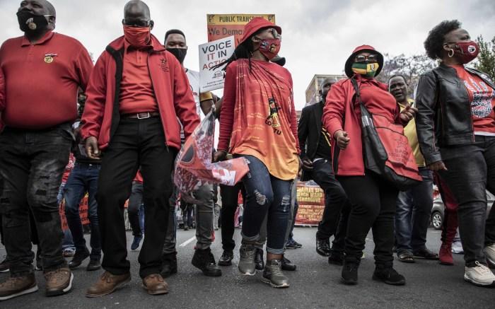 Union leaders leading the march to the Treasury in Pretoria. Picture: Abigail Javier/EWN