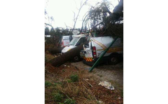 Ambulances damaged at Tembisa Hospital. PICTURE: @RayorSt, Twitter