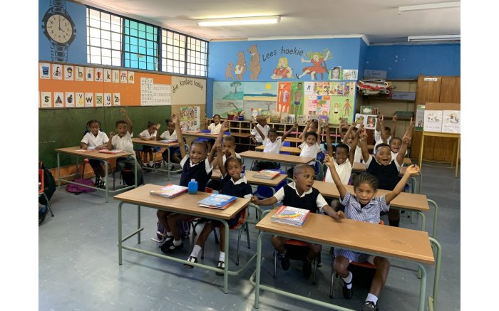 A Grade 1 class at Bergville Primary School on the first day of school.