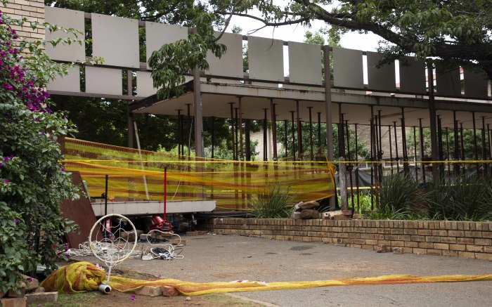 The scene where a walkway collapsed at Hoërskool Driehoek, killing 3 children.