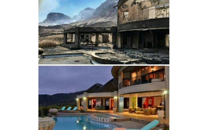 This photo supplied by the City of Cape Town shows the Bezweni Lodge before and after the fire in the Helderberg area. Picture: Supplied.