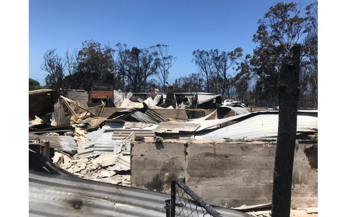 The aftermath of the wildfire at a caravan park in Franskraal in the Overstrand region of the Western Cape on 12 January 2019. Picture: EWN