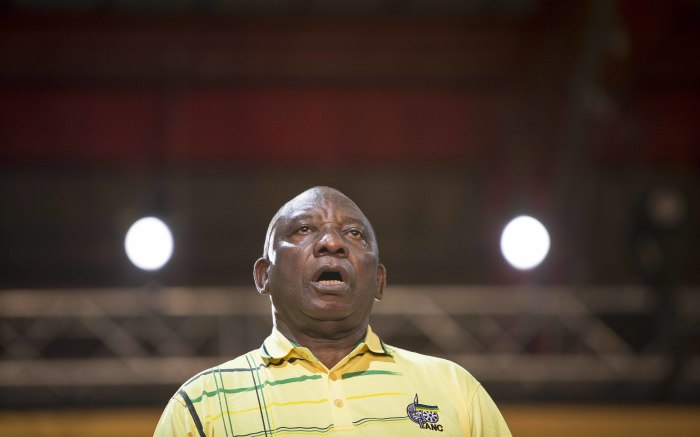 Cyril Ramaphosa sings the national anthem at the ANC's 54th national conference on 16 December 2017. Picture: Thomas Holder/EWN.