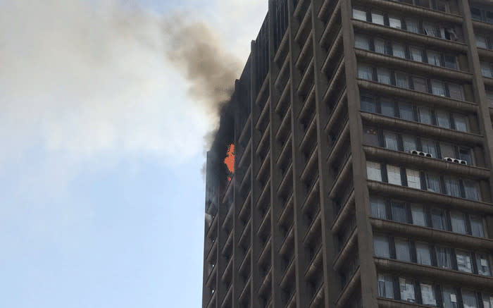 The Bank of Lisbon building in Johannesburg CBD on fire in September 2018. Picture: Christa Eybers/EWN