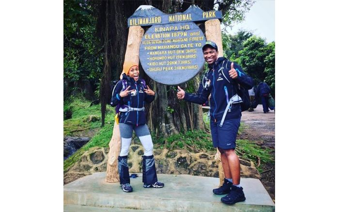 Letshego and Gugu Zulu at Kilimanjaro National Park on 14 July 2016. Picture: Facebook.