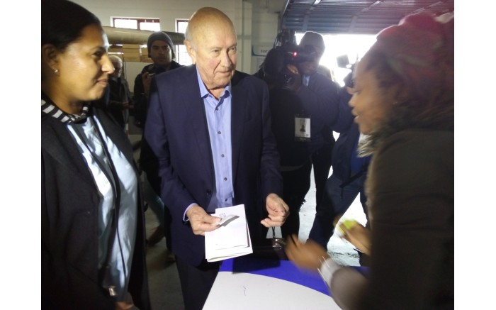 Former president FW de Klerk casts his vote in Bantry Bay on 8 May 2019. Picture: EWN