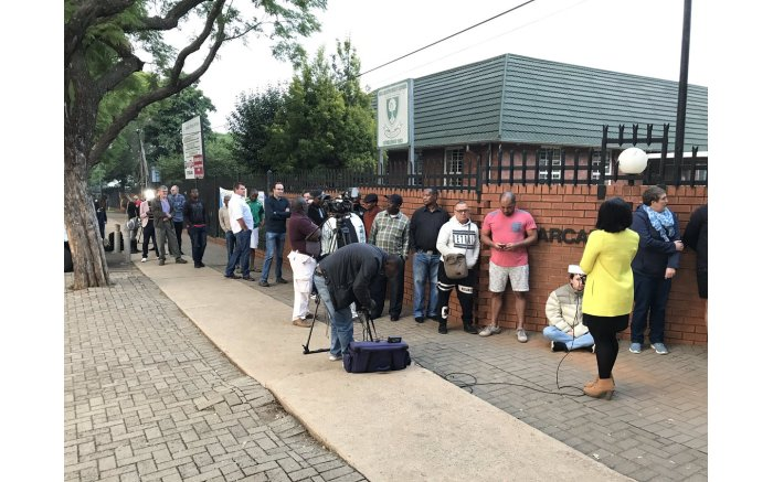 Voters stand in a long queue steadily at the Arcadia Primary School where UDM's Bantu Holomisa also went to cast his vote.