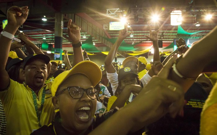 ANC members sing and dance inside the plenary before the ANC's national conference begins on 16 December 2017. Picture: Thomas Holder/EWN.