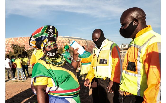 Mamajoy outside the FNB Stadium for Bafana Bafana vs Ethiopia in a 2022 FIFA World Cup qualification match. Picture: Abigail Javier/EWN