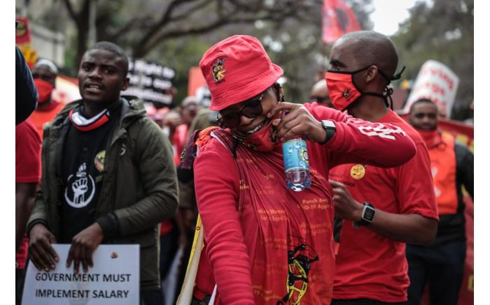 Cosatu president Zingiswa Losi at the Pretoria march. Picture: Abigail Javier/EWN
