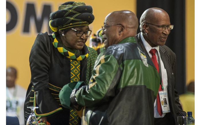 Winnie Madikizela-Mandela chats with President Zuma at the start of the ANC's 54th national conference. Picture: Ihsaan Haffejee/EWN