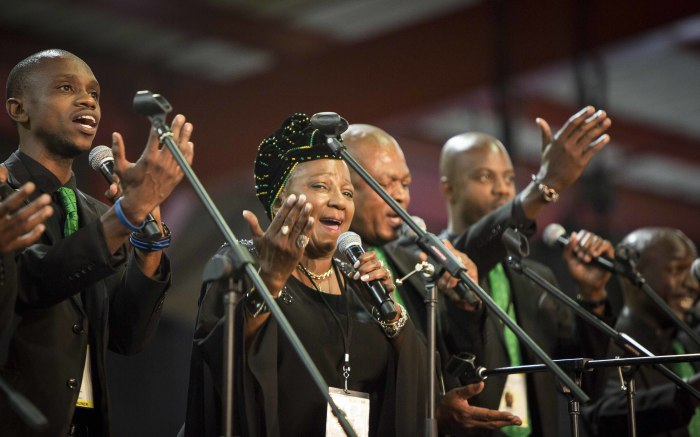 Mara Louw sings the national anthem along with her choir at the ANC's 54th national conference. Picture: Thomas Holder/EWN