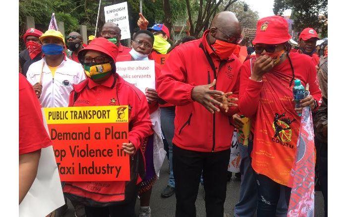 Cosatu president Zingiswa Losi and SACP deputy general secretary Solly Mapaila leading the Pretoria protest. Picture: Theto Mahlakoana/EWN