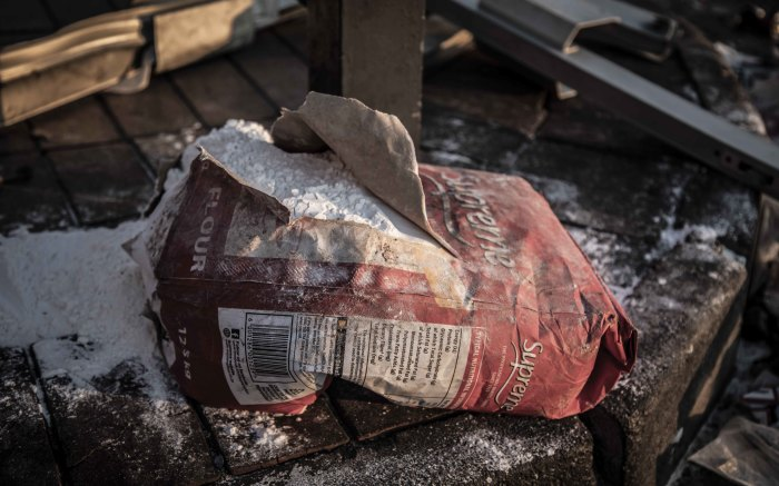 Ripped bag of flour. Picture: Abigail Javier/Eyewitness News