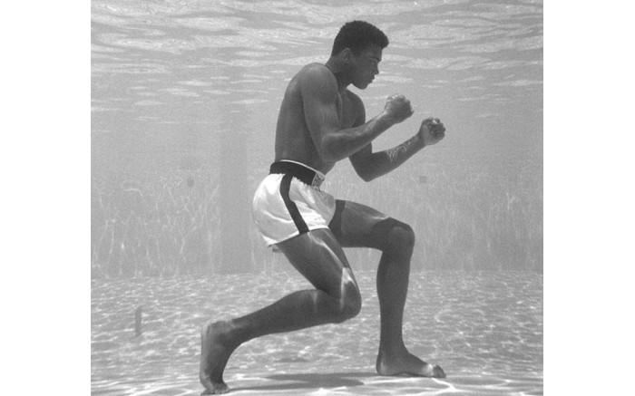 US boxer Muhammad Ali training under water.