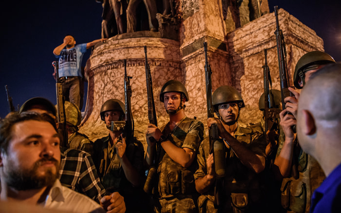 Turkish solders at Taksim square as people protest against the attempted military coup in Istanbul on 16 July 2016.