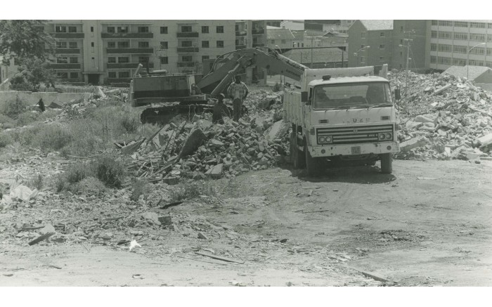 A truck removes rubble from the District Six site. Picture: The District Six Museum