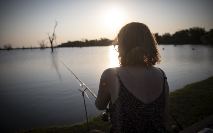 Fishing as the sun sets.