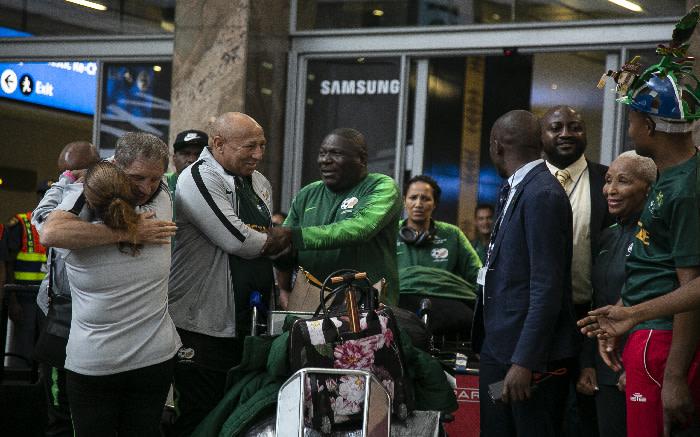 Bafana Bafana players at OR Tambo International Airport. Picture: Kayleen Morgan/EWN