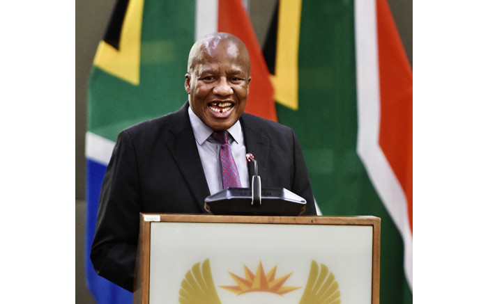 Minister Jackson Mthembu at a government media briefing on coronavirus on 14 March 2020. Picture: Government ZA