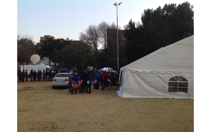 #Elections2016 get underway, people start to queue at Joubert Park in JHB. Picture: Stephen Grootes/EWN.